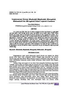 Implementasi Konsep Muahadah Mujahadah, Muraqabah, Muhasabah Dan Mu aqabah Dalam Layanan Customer