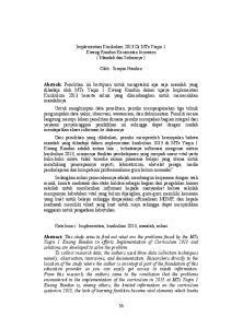 Implementasi Kurikulum 2013 Di MTs Yaqin 1 Kwang Rundun Kecamatan Jerowaru ( Masalah dan Solusinya ) Oleh : Sirajun Nasihin