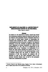 IMPLEMENTASI MAQÂSID AL-AHKÂM TERKAIT REKONTRUKSI HUKUM ISLAM INDONESIA Oleh: Khoirul Amin* 1