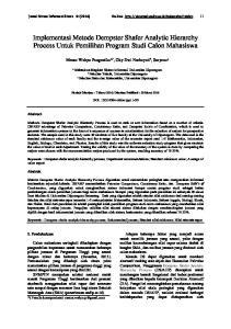 Implementasi Metode Dempster Shafer Analytic Hierarchy Process Untuk Pemilihan Program Studi Calon Mahasiswa