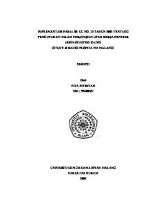 IMPLEMENTASI PASAL 88 UU NO. 13 TAHUN 2003 TENTANG PENGUPAHAN DALAM PERJANJIAN UPAH KERJA PENYIAR (BROADCASTER)