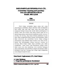 IMPLEMENTASI PENDEKATAN CTL (Contextual Teaching and Learning) DALAM MENINGKATKAN HASIL BELAJAR