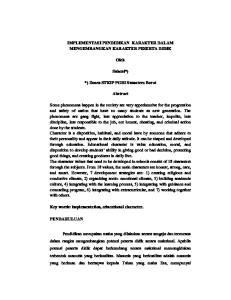 IMPLEMENTASI PENDIDIKAN KARAKTER DALAM MENGEMBANGKAN KARAKTER PESERTA DIDIK. Oleh. Suheni*) *) Dosen STKIP PGRI Sumatera Barat