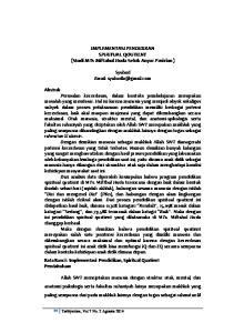 IMPLEMENTASI PENDIDIKAN SPIRITUAL QOUTIENT (Studi MTs Miftahul Huda Selok Anyar Pasirian)