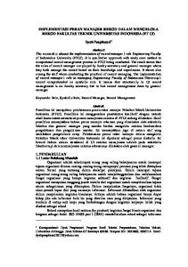 IMPLEMENTASI PERAN MANAJER REKOD DALAM MENGELOLA REKOD FAKULTAS TEKNIK UNIVERSITAS INDONESIA (FT UI)