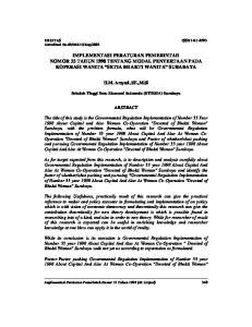 IMPLEMENTASI PERATURAN PEMERINTAH NOMOR 33 TAHUN 1998 TENTANG MODAL PENYERTAAN PADA KOPERASI WANITA SETIA BHAKTI WANITA SURABAYA