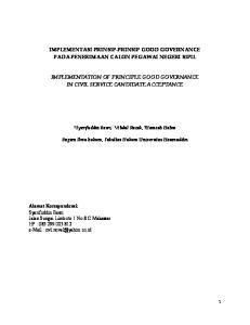 IMPLEMENTASI PRINSIP-PRINSIP GOOD GOVERNANCE PADA PENERIMAAN CALON PEGAWAI NEGERI SIPIL