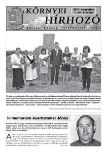 In memoriam Auerhammer János augusztus 7. évf. 8. szám. Környe Község Információs lapja