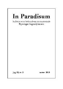 In Paradisum. bulletin voor behoud van monumentale Nijmeegse begraafplaatsen