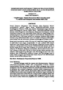 INDEKS KEPUASAN MASYARAKAT TERHADAP PELAYANAN PUBLIK DI RUMAH SAKIT UMUM DAERAH PROF. DR. H. M. CHATIB QUZWAIN SAROLANGUN TAHUN