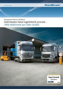 Individuální řízení logistických procesů větší efektivnost pro Vaše využití!