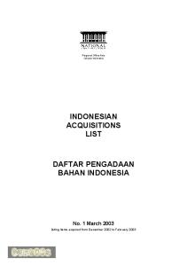 INDONESIAN ACQUISITIONS LIST