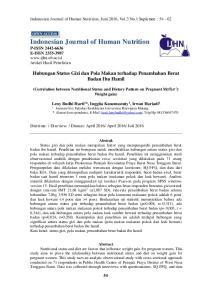 Indonesian Journal of Human Nutrition P-ISSN E-ISSN Artikel Hasil Penelitian