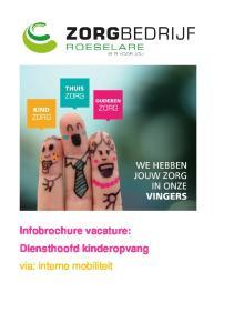 Infobrochure vacature: Diensthoofd kinderopvang via: interne mobiliteit