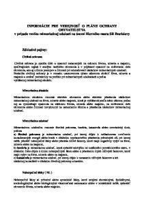 INFORMÁCIE PRE VEREJNOSŤ O PLÁNE OCHRANY OBYVATEĽSTVA v prípade vzniku mimoriadnej udalosti na území Hlavného mesta SR Bratislavy