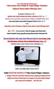 Inilah DAFTAR MANFAAT Video Smart Belajar AlQuran :