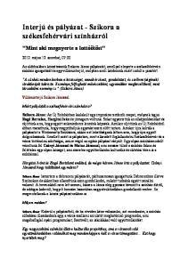 Interjú és pályázat - Szikora a székesfehérvári színházról