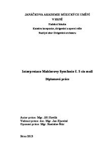 Interpretace Mahlerovy Symfonie č. 5 cis moll