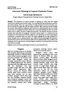 Intervensi Psikologi di Layanan Kesehatan Primer