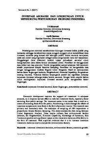 INVESTASI ASURANSI DAN LINGKUNGAN UNTUK MENDUKUNG PERTUMBUHAN EKONOMI INDONESIA