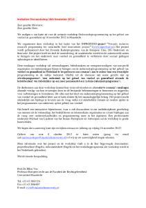Invitation first workshop 16th November 2012: