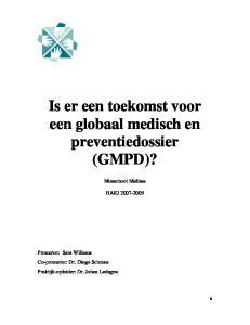 Is er een toekomst voor een globaal medisch en preventiedossier (GMPD)?