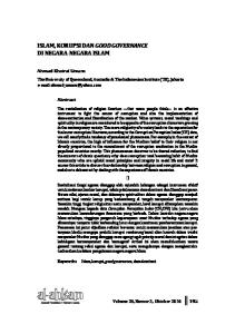 ISLAM, KORUPSI DAN GOOD GOVERNANCE DI NEGARA-NEGARA ISLAM