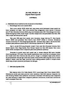 ISLAMIC FINANCE 06 Sejarah Bank Syariah. Arif Wibowo