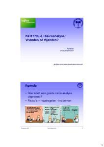 ISO17799 & Risicoanalyse: Vrienden of Vijanden?