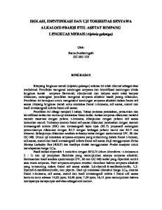 ISOLASI, IDENTIFIKASI DAN UJI TOKSISITAS SENYAWA ALKALOID FRAKSI ETIL ASETAT RIMPANG LENGKUAS MERAH (Alpinia galanga)