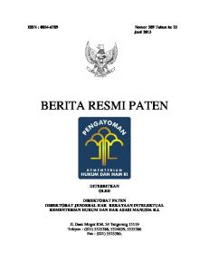 ISSN : Nomor 389 Tahun ke 23 Juni 2013 BERITA RESMI PATEN DITERBITKAN OLEH