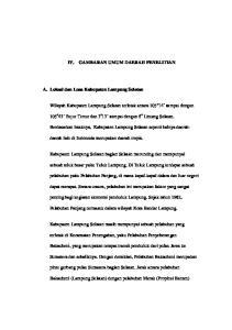 IV. GAMBARAN UMUM DAERAH PENELITIAN. Wilayah Kabupaten Lampung Selatan terletak antara 105 o 14 sampai dengan