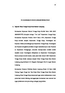 IV. GAMBARAN UMUM LOKASI PENELITIAN. A. Sejarah Dinas Tenaga Kerja Kota Bandar Lampung