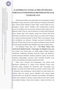 IX. KETERKAITAN ANTARA ALTERNATIF STRATEGI PEMBANGUNAN EKONOMI DAN IDENTIFIKASI WILAYAH CIANJUR SELATAN