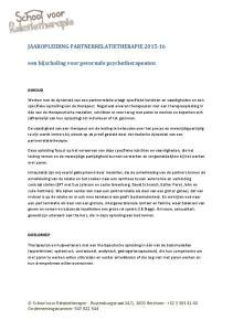 JAAROPLEIDING PARTNERRELATIETHERAPIE een bijscholing voor gevormde psychotherapeuten