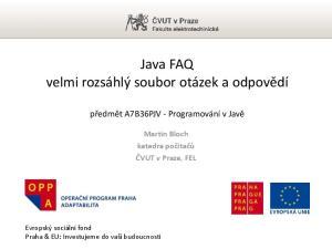Java FAQ velmi rozsáhlý soubor otázek a odpovědí
