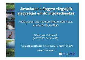 Javaslatok a Zagyva vízgyv alegységet. zkedésekre. és s felszín n alatti vizek. (VIZITERV Environ Kft) Előadó neve: Virág Margit