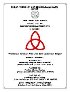 Jemaat EKKLESIA di DKI JAKARTA Jl. Kalibata Timur I No.41 Jakarta Selatan 12740