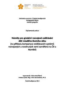 Jihočeská univerzita v Českých Budějovicích Pedagogická fakulta Katedra geografie. Diplomová práce