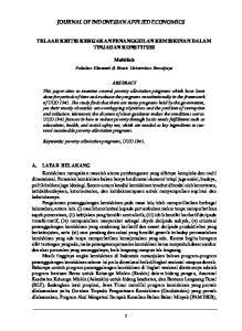 JOURNAL OF INDONESIAN APPLIED ECONOMICS TELAAH KRITIS KEBIJAKAN PENANGGULAN KEMISKINAN DALAM TINJAUAN KONSTITUSI