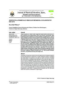 Journal of Physical Education, Sport, Health and Recreations