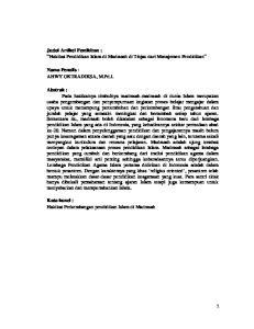 Judul Artikel Pemikiran : Hakikat Pendidikan Islam di Madrasah di Tinjau dari Manajemen Pendidikan