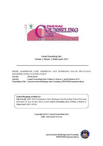 Jurnal Counseling Care Volume 1, Nomor 1, Bulan April, 2017