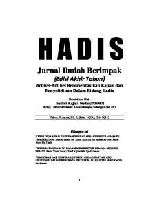 Jurnal Ilmiah Berimpak (Edisi Akhir Tahun) Artikel-Artikel Berorientasikan Kajian dan Penyelidikan Dalam Bidang Hadis