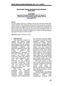 JURNAL KHATULISTIWA INFORMATIKA, VOL. 2 NO. 1 JUNI 2014 MENENTUKAN TINGKAT KEMISKINAN MENGGUNAKAN FUZZY LOGIC