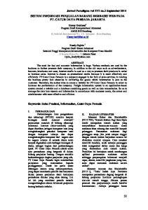 Jurnal Paradigma vol XVI no.2 September 2014 SISTEM INFORMASI PENJUALAN BARANG BERBASIS WEB PADA PT. CATUR DAYA PERSADA JAKARTA