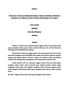 JURNAL PENGARUH ANGGARAN BERBASIS KINERJA TERHADAP KINERJA PROGRAM PENINGKATAN DISIPLIN APARATUR INSTANSI PEMERINTAH DAERAH. Venni Avionita 0109U035