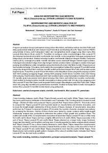 Jurnal Perikanan (J. Fish. Sci.) XV (1): ISSN: