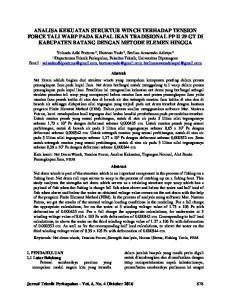 Jurnal Teknik Perkapalan - Vol. 4, No. 4 Oktober Yolanda Adhi Pratama 1), Hartono Yudo 1), Berlian Arswendo Adietya 1) 1)
