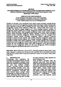 Jurnal Wawasan Ilmiah Volume 7, Nomor 12, Maret 2015 Manajemen dan Teknik Informatika ISSN :